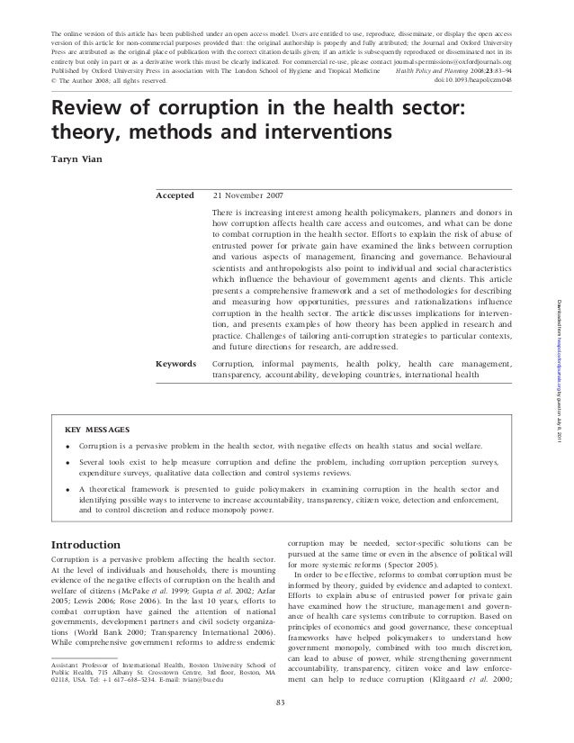 Vian paper   corruption in health sector