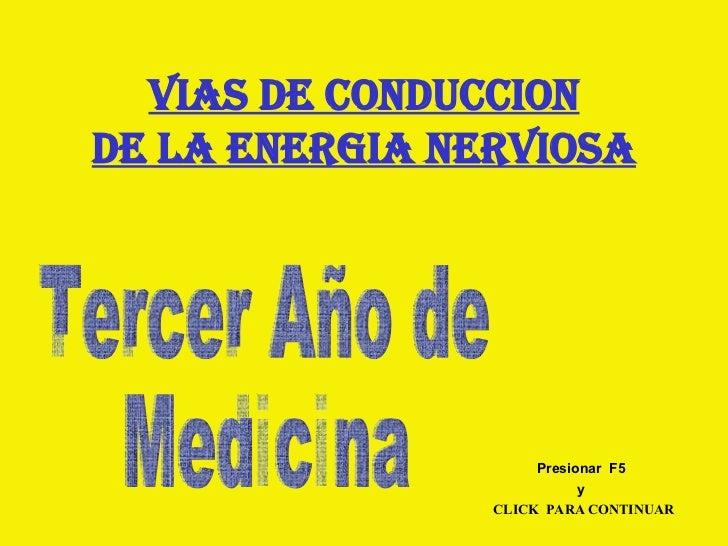 VIAS DE CONDUCCION DE LA ENERGIA NERVIOSA Tercer Año de Medicina CLICK  PARA CONTINUAR Presionar  F5 y
