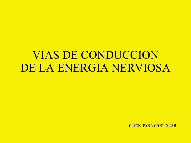 VIAS DE CONDUCCION DE LA ENERGIA NERVIOSA CLICK  PARA CONTINUAR