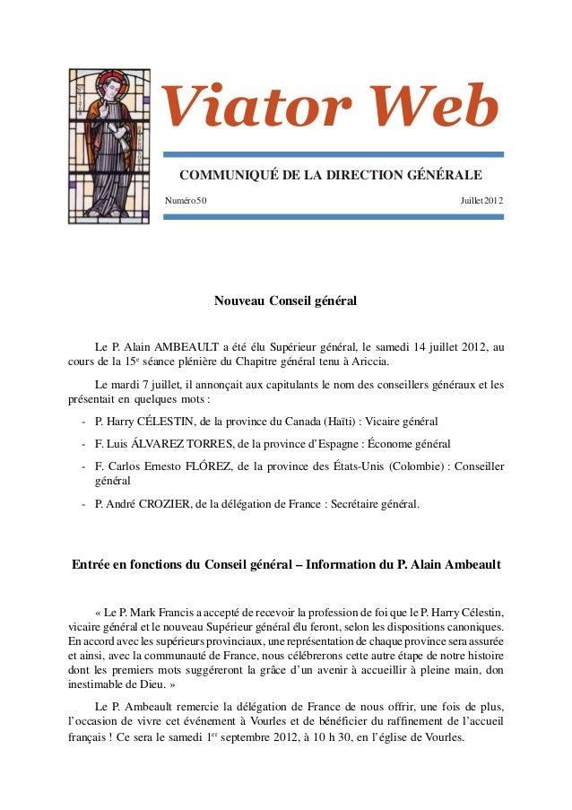 Viator Web                        COMMUNIQUÉ DE LA DIRECTION GÉNÉRALE                     Numéro 50                       ...