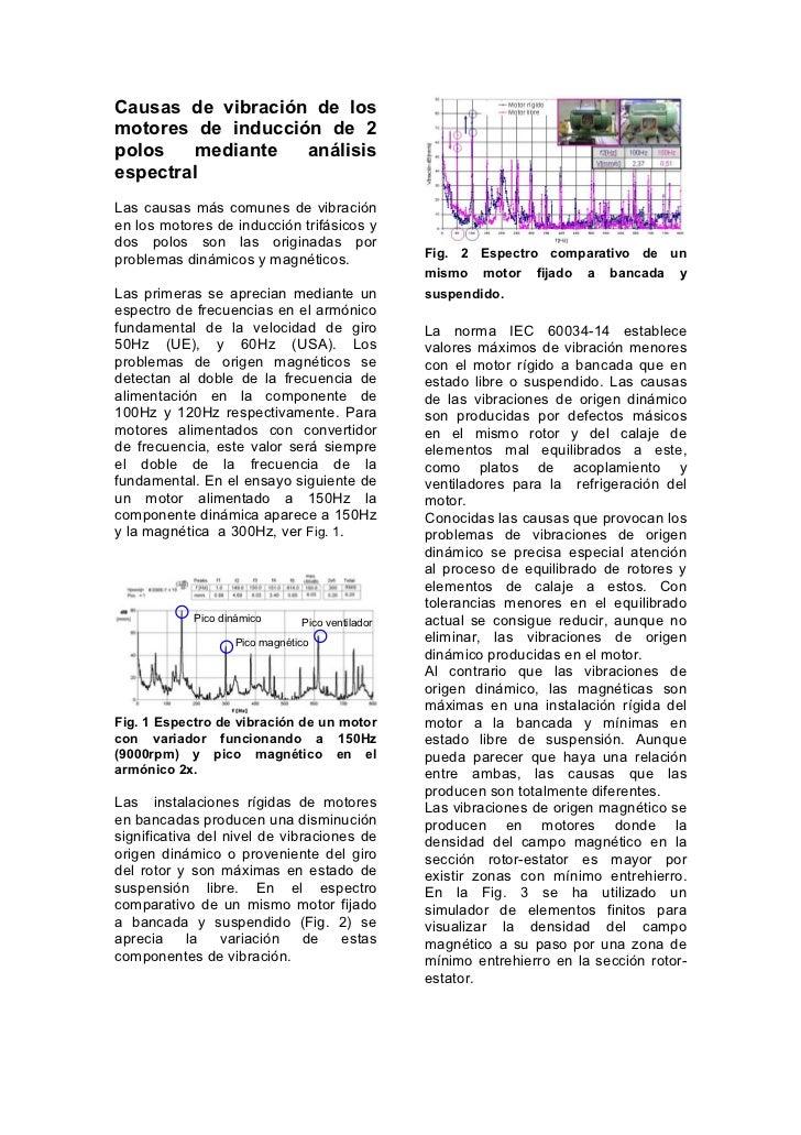 Causas de vibración de losmotores de inducción de 2polos    mediante  análisisespectralLas causas más comunes de vibración...