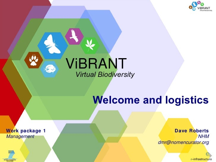 Welcome and logistics Dave Roberts NHM [email_address] Work package 1 Management ViBRANT Virtual Biodiversity