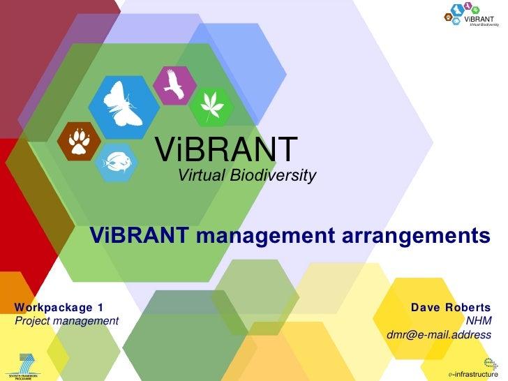 ViBRANT management arrangements