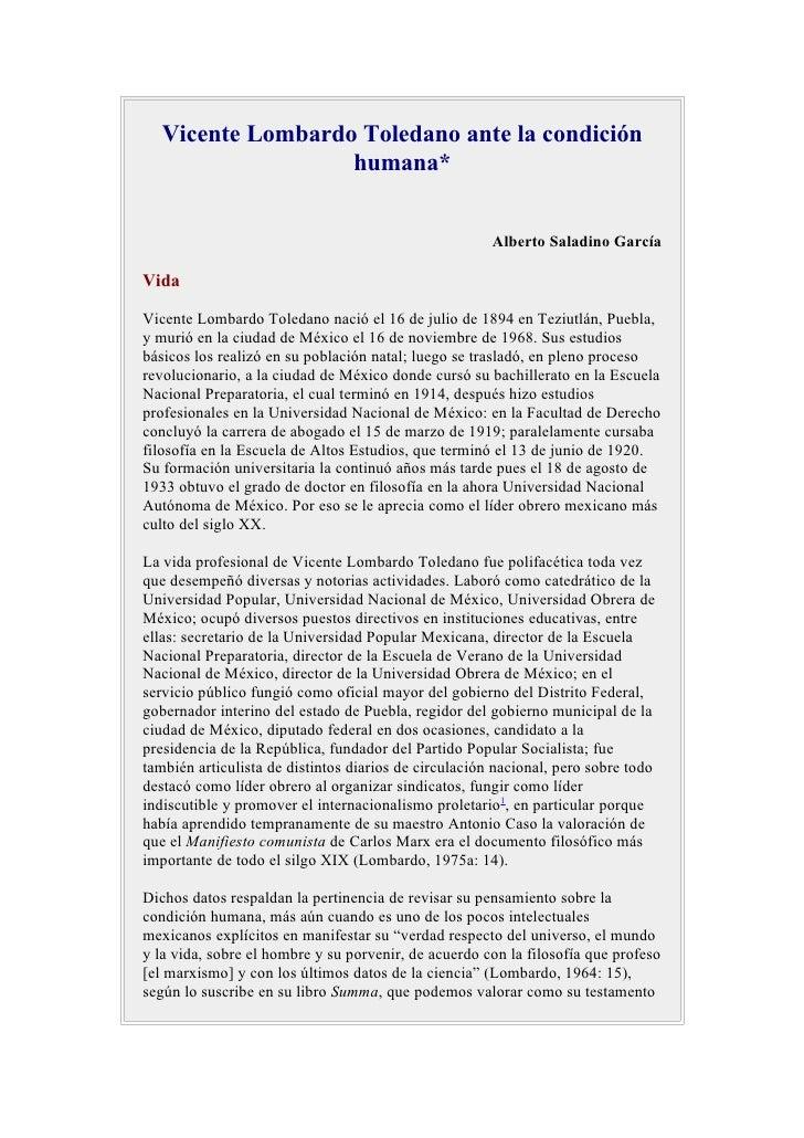 Vicente Lombardo Toledano ante la condición                    humana*                                                    ...
