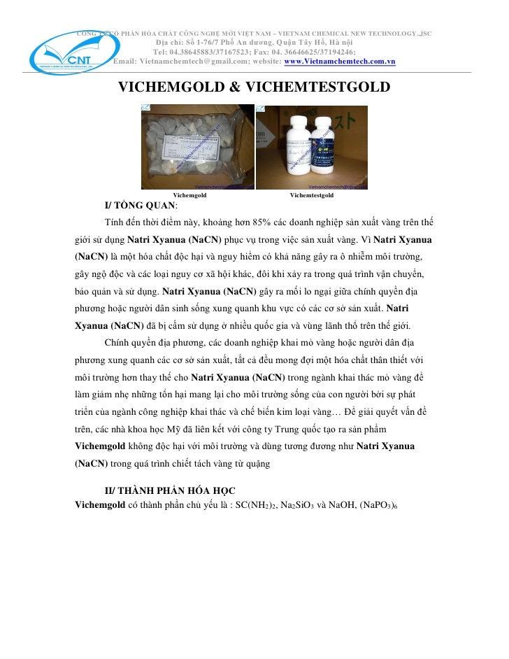CÔNG TY CỔ PHẦN HÓA CHẤT CÔNG NGHỆ MỚI VIỆT NAM – VIETNAM CHEMICAL NEW TECHNOLOGY.,JSC                     Địa chỉ: Số 1-7...