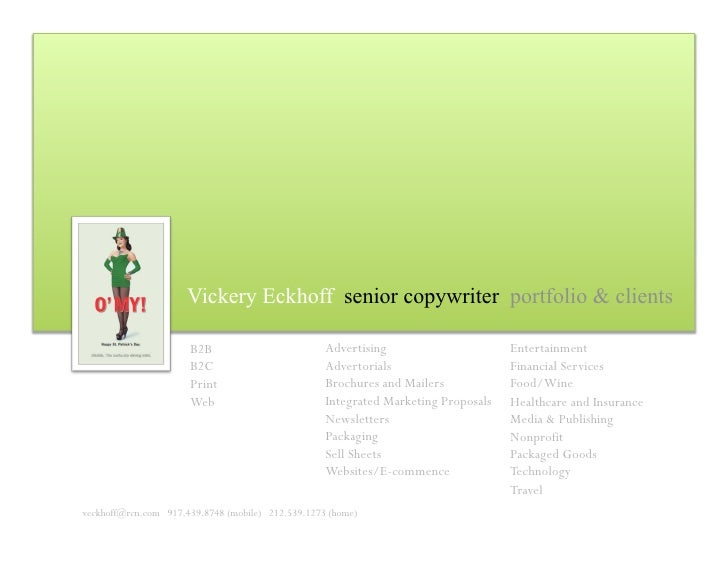 Vickery Eckhoff senior copywriter portfolio & clients                                                     Advertising     ...