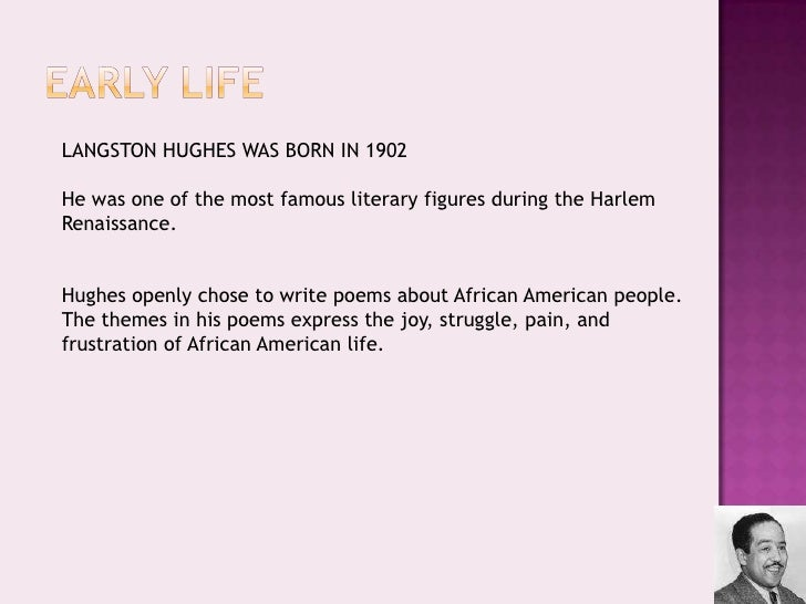 a literary analysis of the poem harlem by langston hughes Mother to son by langston hughes well son ill tell you life for me aint been no crystal stair its had tacks in it and splinters and.