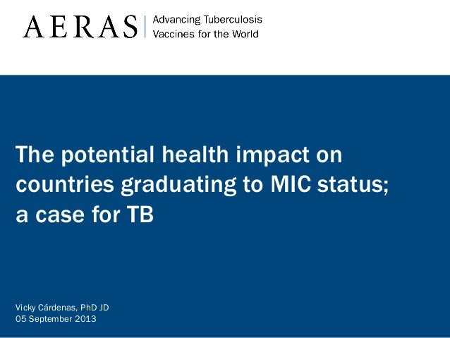 The potential health impact on countries graduating to MIC status; a case for TB  Vicky Cárdenas, PhD JD 05 September 2013