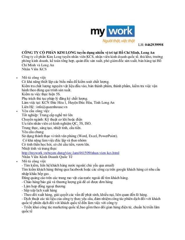 LH: 0462939998 CÔNG TY CỔ PHẦN KIM LONG tuyển dụng nhiều vị trí tại Hồ Chí Minh, Long An Công ty cổ phần Kim Long tuyển nh...