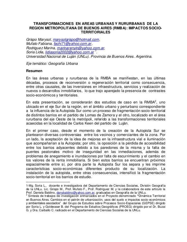 TRANSFORMACIONES EN AREAS URBANAS Y RURURBANAS DE LA  REGION METROPOLITANA DE BUENOS AIRES (RMBA): IMPACTOS SOCIO-        ...