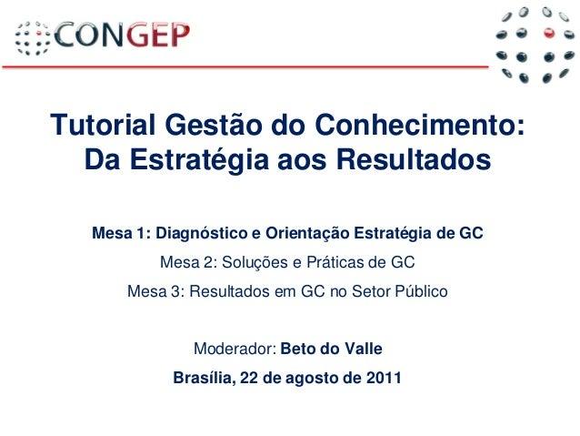 Beto do Valle Tutorial Gestão do Conhecimento: Da Estratégia aos Resultados Mesa 1: Diagnóstico e Orientação Estratégia de...