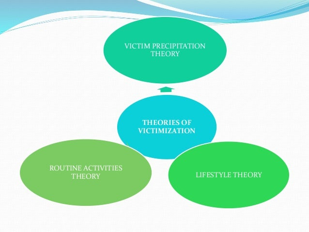 victim precipitation theory The victim precipitation theory suggests that some people cause or initiate a  particular confrontation that may eventually lead to that person.