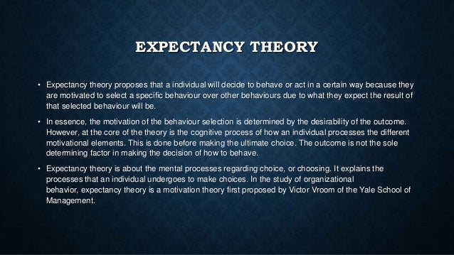 vrooms expectancy theory What is expectancy theory description the expectancy theory of victor vroom deals with motivation and management vroom's theory assumes that behavior is a result.