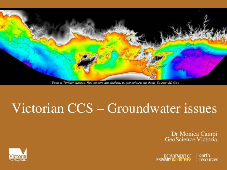 Base of Tertiary surface. Red colours are shallow, purple colours are deep. Source: 3D-GeoVictorian CCS – Groundwater issu...