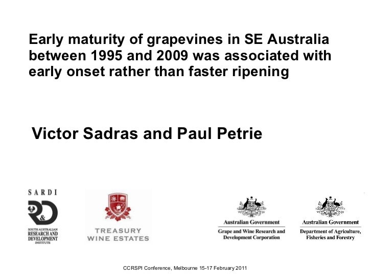 Early maturity of grapevines in SE Australia between 1995 and 2009 was associated with early onset rather than faster ripe...