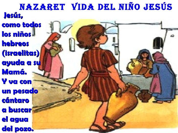 nazaret Vida deL niño Jesús Jesús,como todoslos niñoshebreos(israelitas)ayuda a suMamá.Y va conun pesadocántaroa buscarel ...