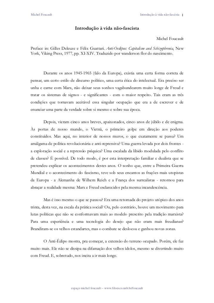 Michel Foucault                                                            Introdução à vida não-fascista 1               ...