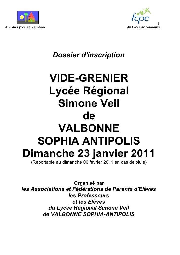 Vide grenier valbonne  23 01-2011 (dossier inscription)