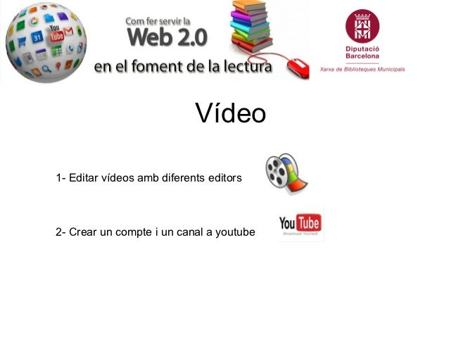 Vídeo1- Editar vídeos amb diferents editors2- Crear un compte i un canal a youtube