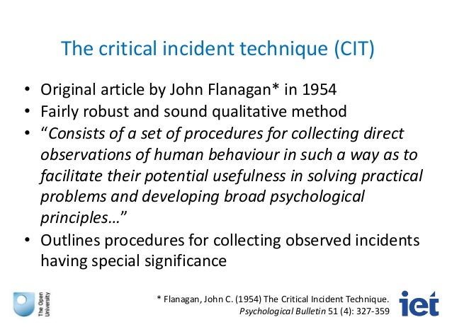 critical incidents technique of job analysis psychology essay Using the enhanced critical incident technique in counselling basée sur la technique des incidents critiques, critical psychology, education, job analysis.