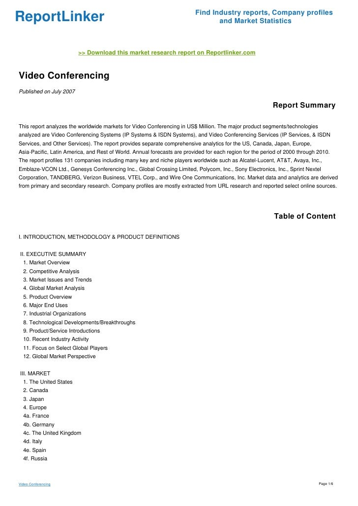 Video Conferencing - Download this market research report on ...