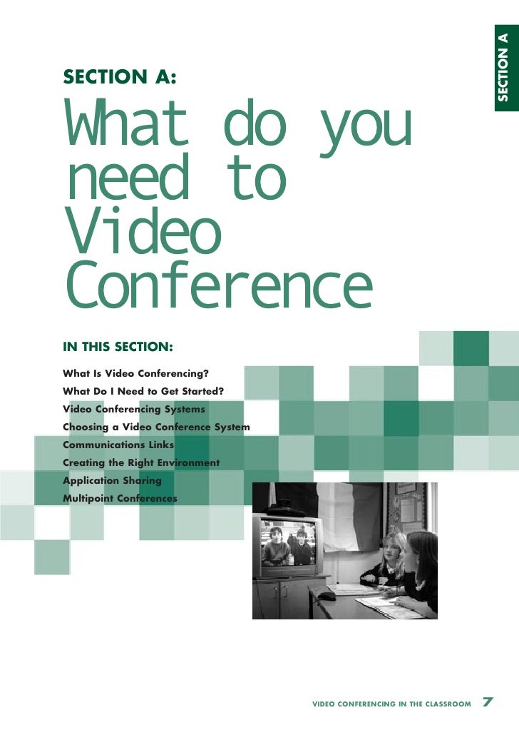 SECTION A SECTION A:   What do you need to Video Conference IN THIS SECTION:  What Is Video Conferencing? What Do I Need t...