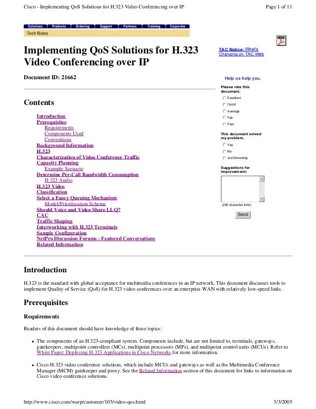 Cisco - Implementing QoS Solutions for H.323 Video Conferencing over IP  Implementing QoS Solutions for H.323 Video Confer...