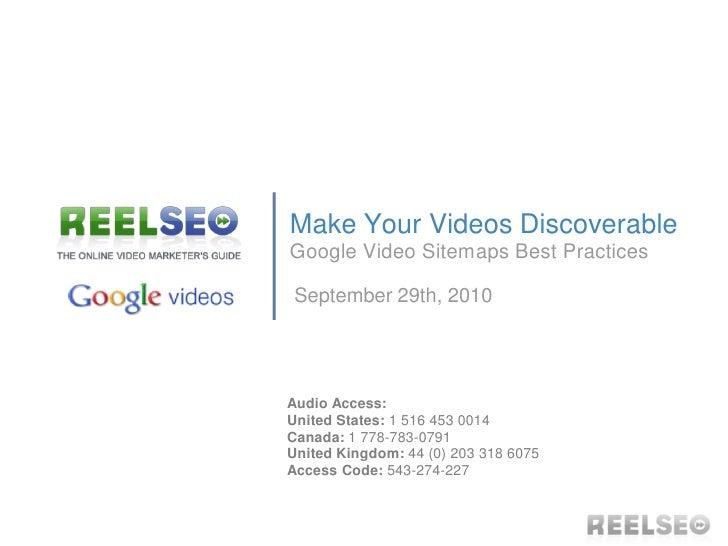 Google Video Sitemaps Best Practices Webinar Slides