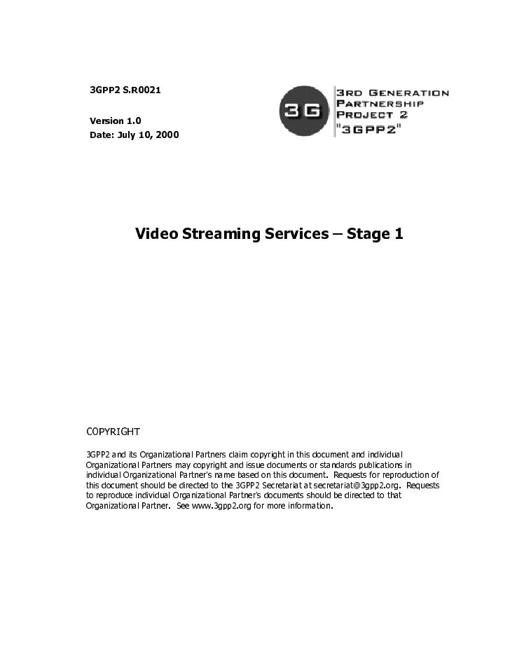 Video Streaming Services – Stage 1