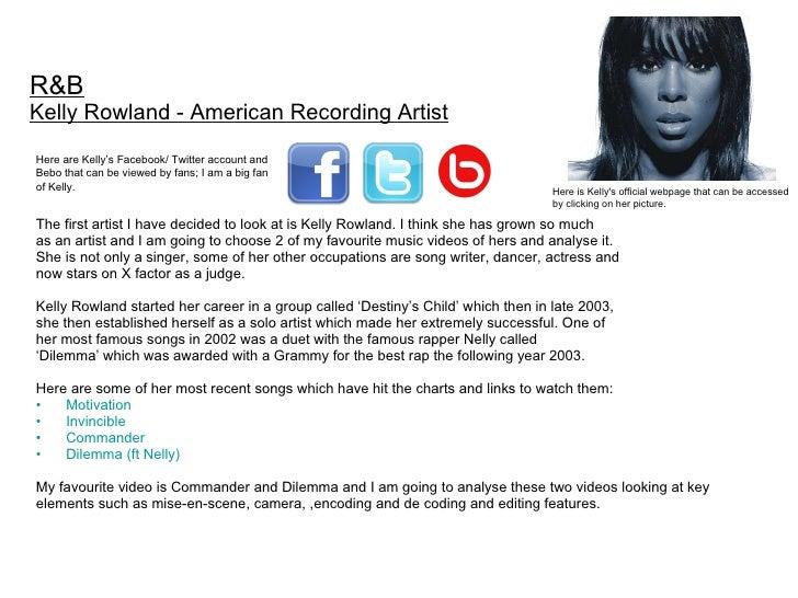 <ul><li>The first artist I have decided to look at is Kelly Rowland. I think she has grown so much  </li></ul><ul><li>as a...