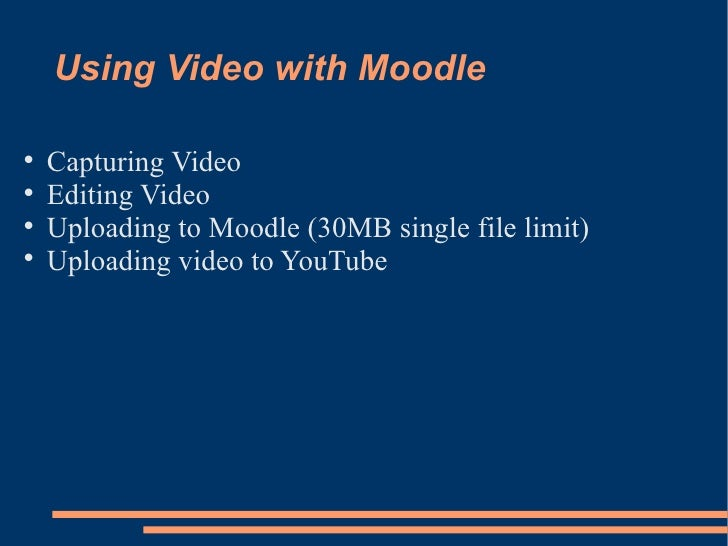 Using Video with Moodle <ul><li>Capturing Video </li></ul><ul><li>Editing Video </li></ul><ul><li>Uploading to Moodle (30M...