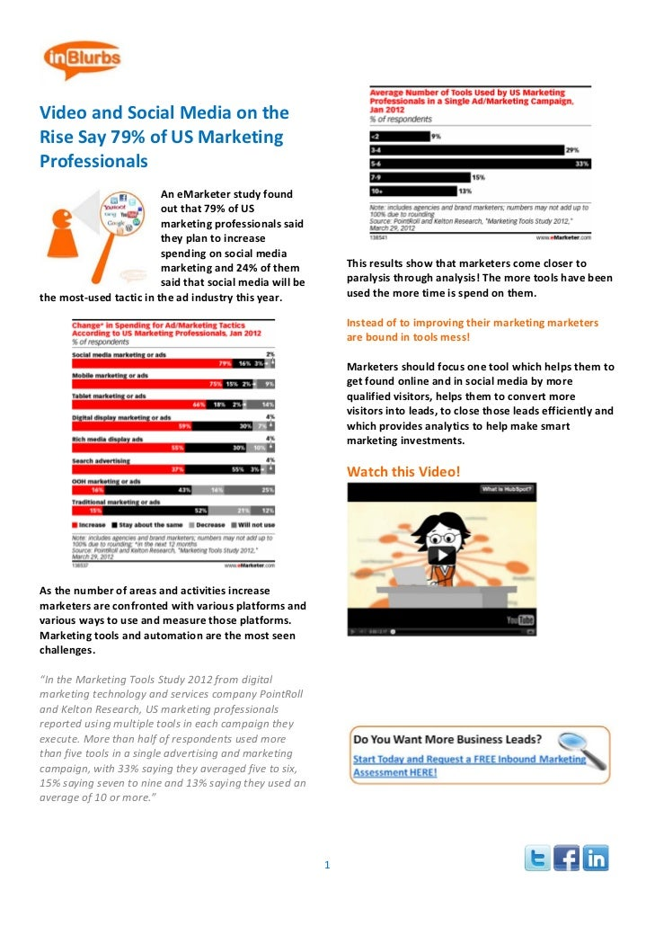 Video and Social Media on the Rise Say 79% of US Marketing Professionals                                                ...