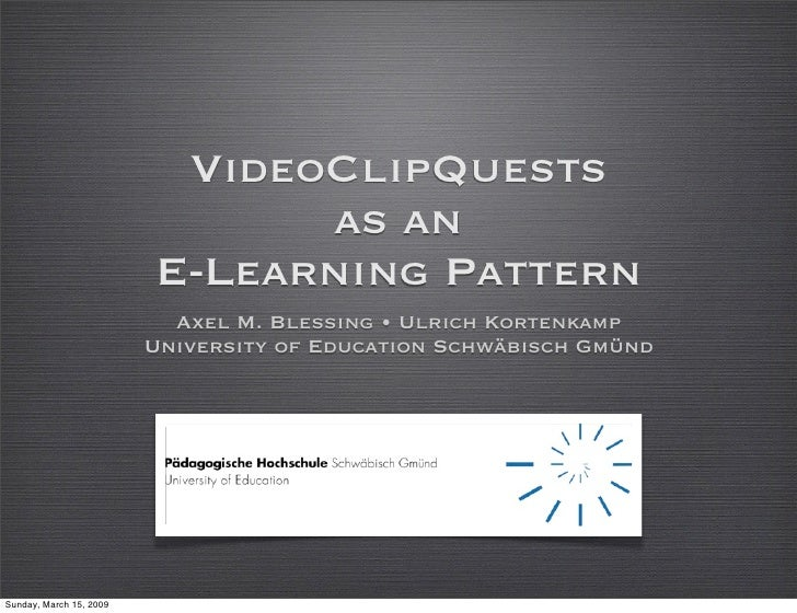 VideoClipQuests                                as an                          E-Learning Pattern                          ...