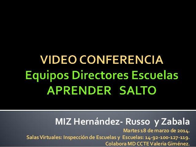 MIZ Hernández- Russo y Zabala Martes 18 de marzo de 2014. SalasVirtuales: Inspección de Escuelas y Escuelas: 14-92-100-127...