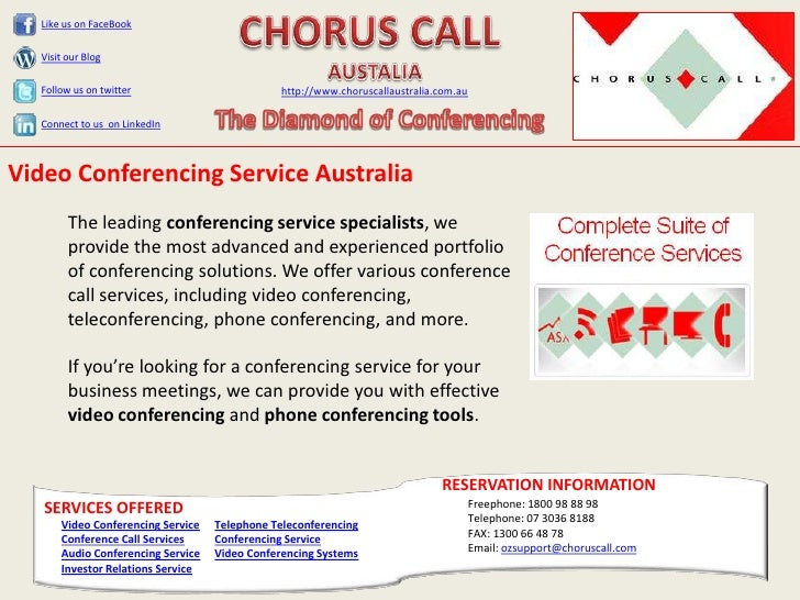 Video conferencing services   chorus call