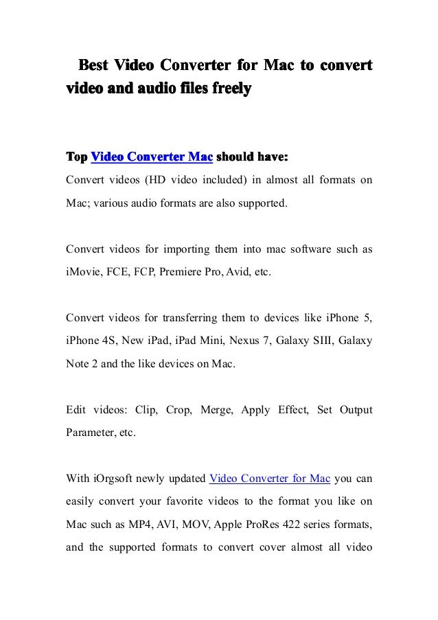 Best Video Converter for Mac to convert video and audio files freely