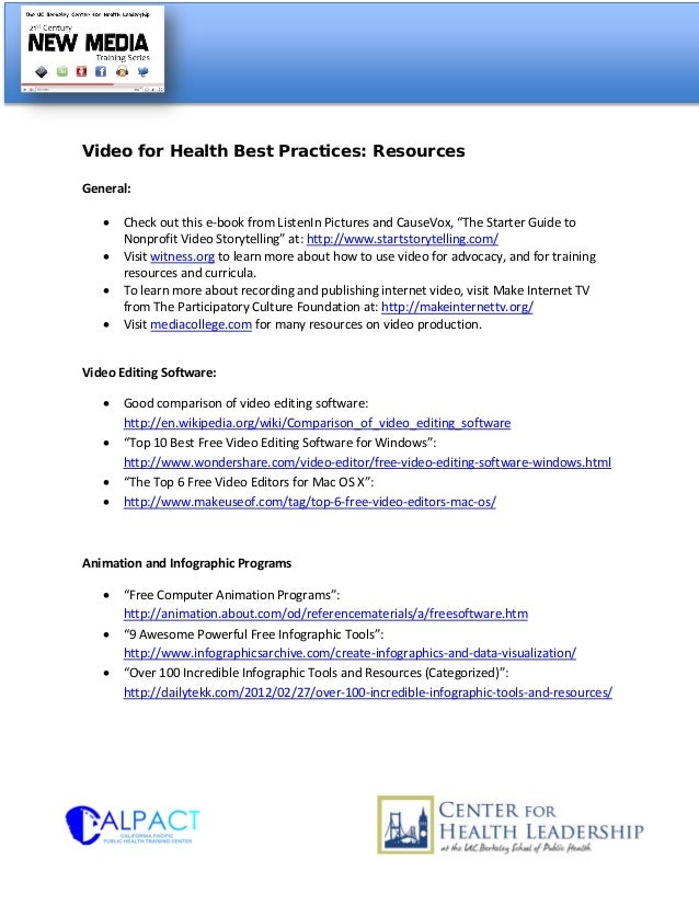 """Video for Health Best Practices: ResourcesGeneral:• Check out this e-book from ListenIn Pictures and CauseVox, """"The Starte..."""