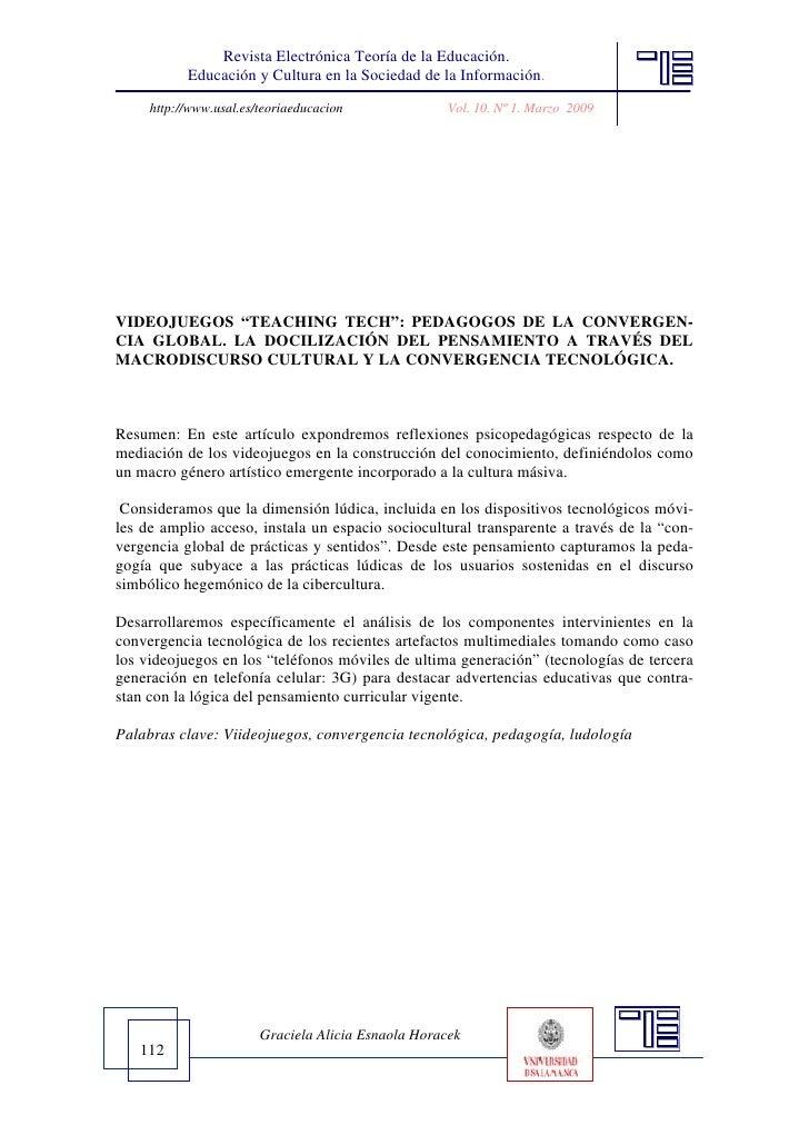 Revista Electrónica Teoría de la Educación.           Educación y Cultura en la Sociedad de la Información.     http://www...