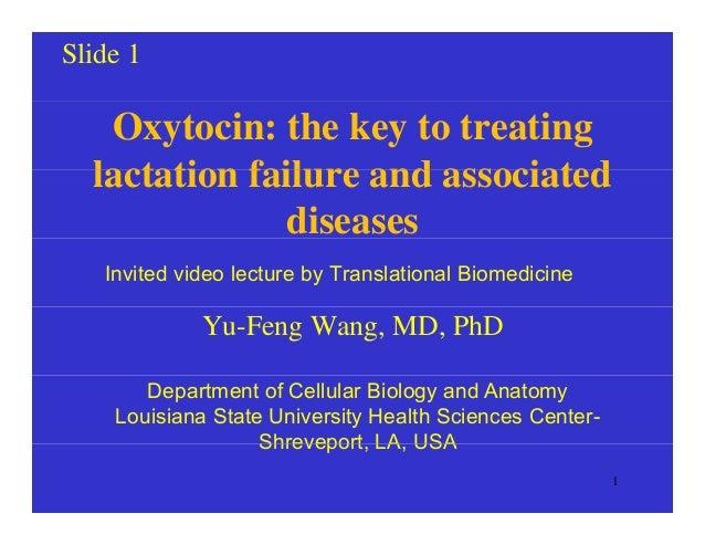 Slide 1 Oxytocin: the key to treating lactation failure and associatedlactation failure and associated diseases Invited vi...