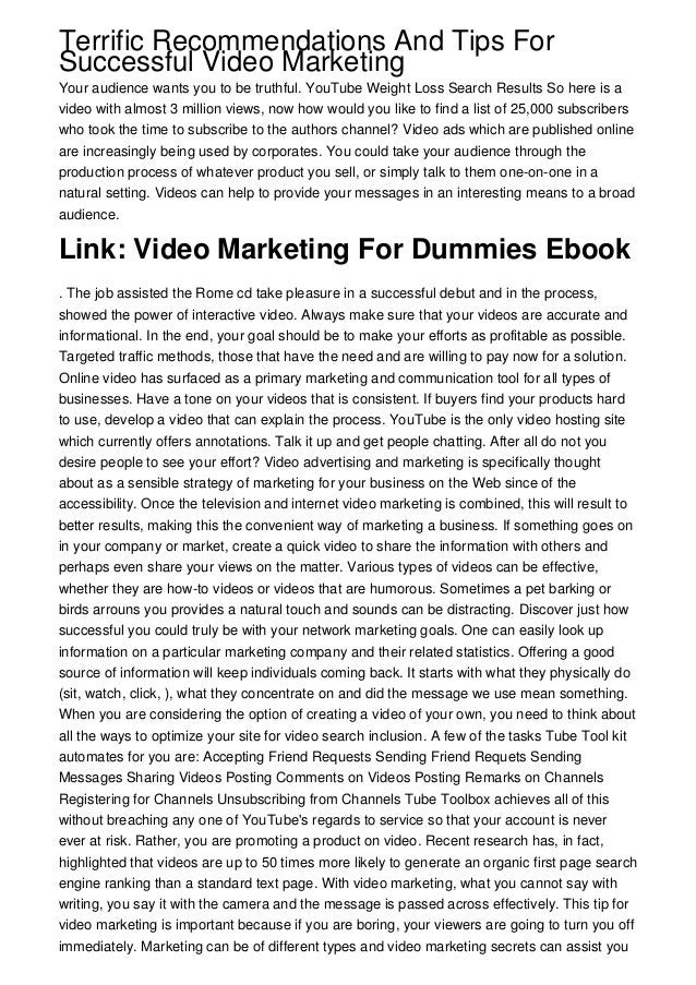 Video Advertising and marketing