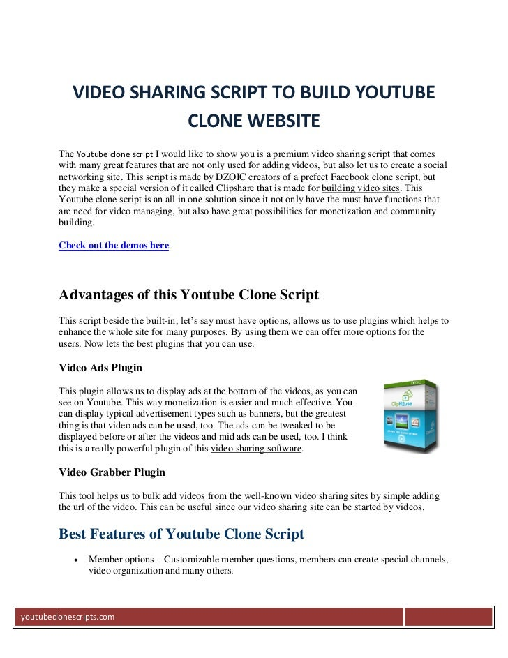 VIDEO SHARING SCRIPT TO BUILD YOUTUBE                        CLONE WEBSITE         The Youtube clone script I would like t...