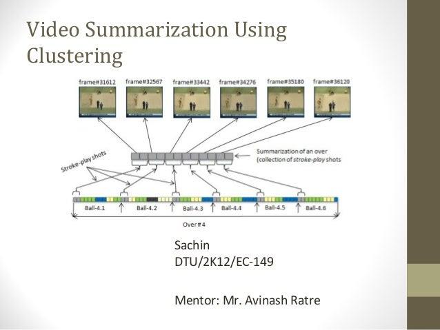 Video Summarization Using Clustering  Sachin DTU/2K12/EC-149 Mentor: Mr. Avinash Ratre