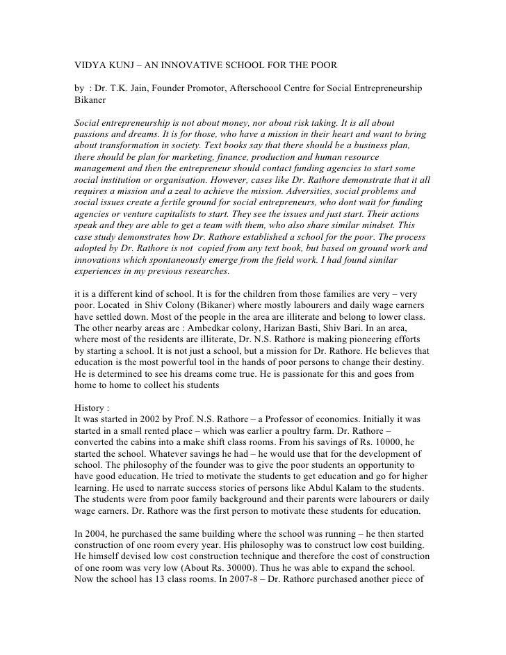 VIDYA KUNJ – AN INNOVATIVE SCHOOL FOR THE POOR  by : Dr. T.K. Jain, Founder Promotor, Afterschoool Centre for Social Entre...