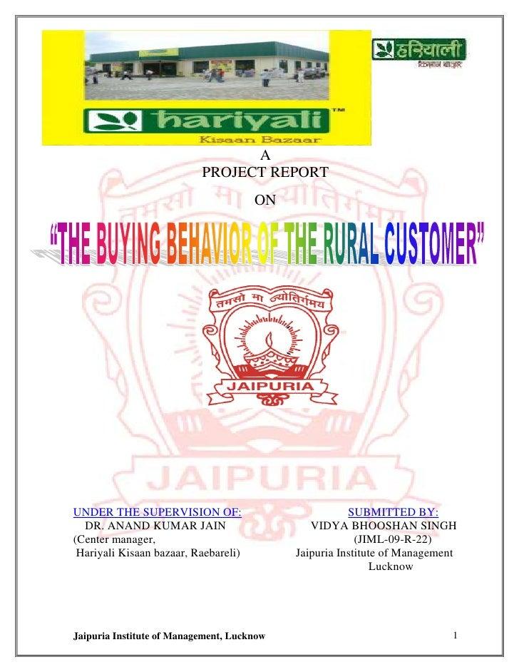 Retail project on hariyali hyper market by Vidya Bhooshan Singh 8960188100