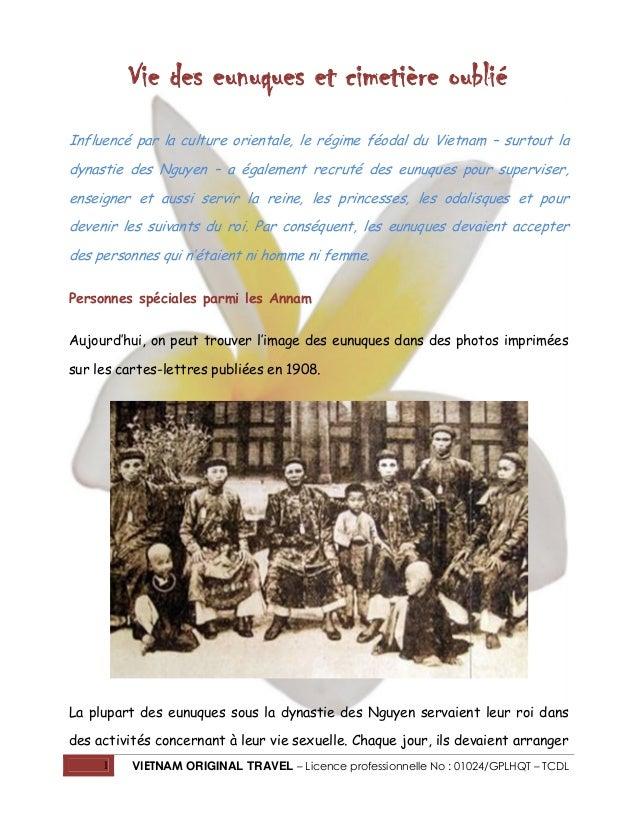 1 VIETNAM ORIGINAL TRAVEL – Licence professionnelle No : 01024/GPLHQT – TCDL Vie des eunuques et cimetière oublié Influenc...