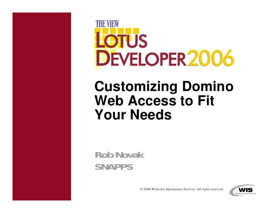 Customizing Domino Web Access to Fit Your Needs  Rob Novak SNAPPS         © 2006 Wellesley Information Services. All right...