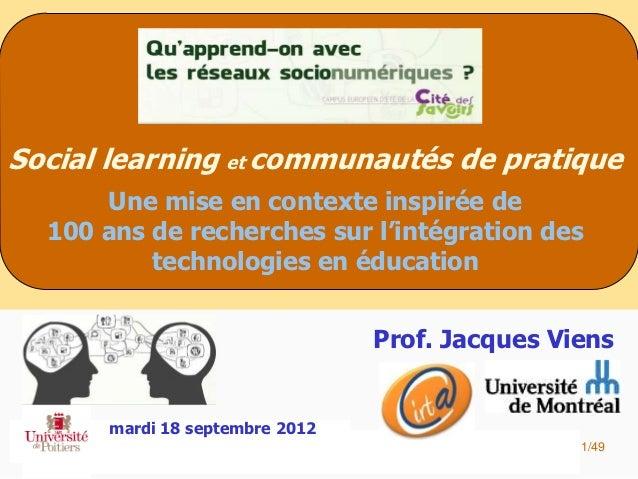 Social learning et communautés de pratique      Une mise en contexte inspirée de  100 ans de recherches sur l'intégration ...