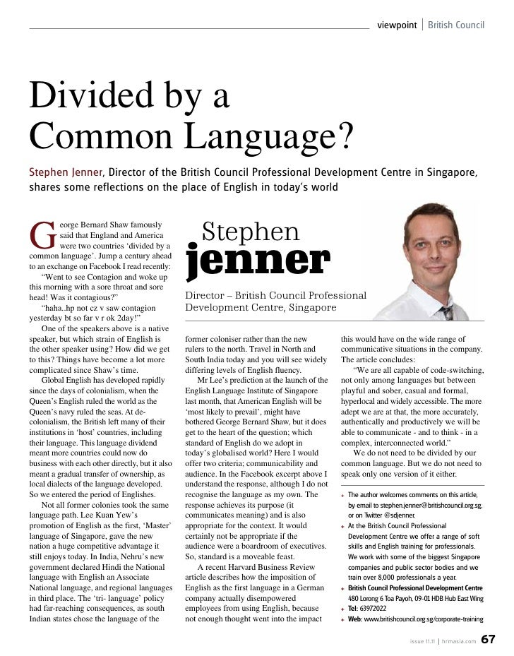Article For Hr Magazine On Global English