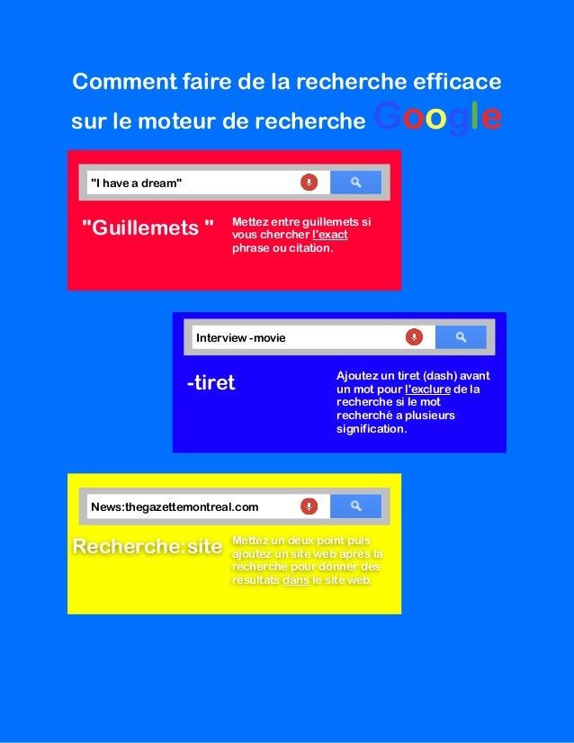"""Comment faire de la recherche efficace sur le moteur de recherche Google """"Guillemets """" Mettez entre guillemets si vous che..."""