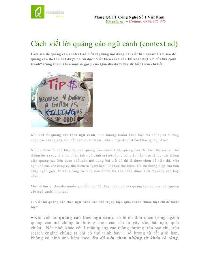 Mạng QCTT Công Nghệ Số 1 Việt Nam                                           Qmedia.vn – Hotline: 0984.405.445Cách viết lời...